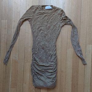 A.L.C. Tan Mini Dress Ruched Bodycon XS